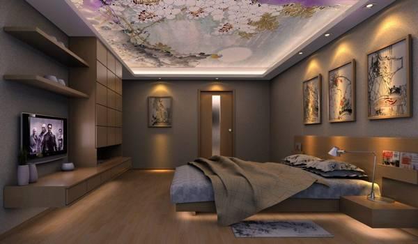 Натяжные потолки с фотопечатью в спальне на транслюциде