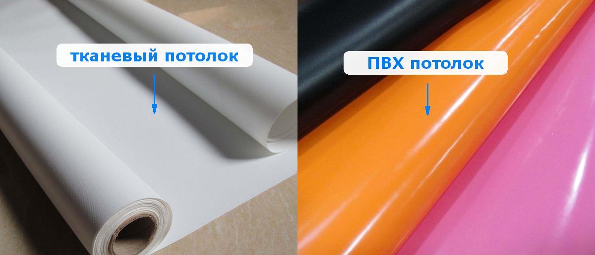 Тканевый или ПВХ натяжной потолок