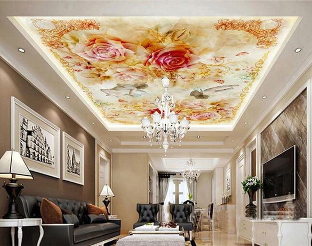 Натяжные потолки с цветами для зала