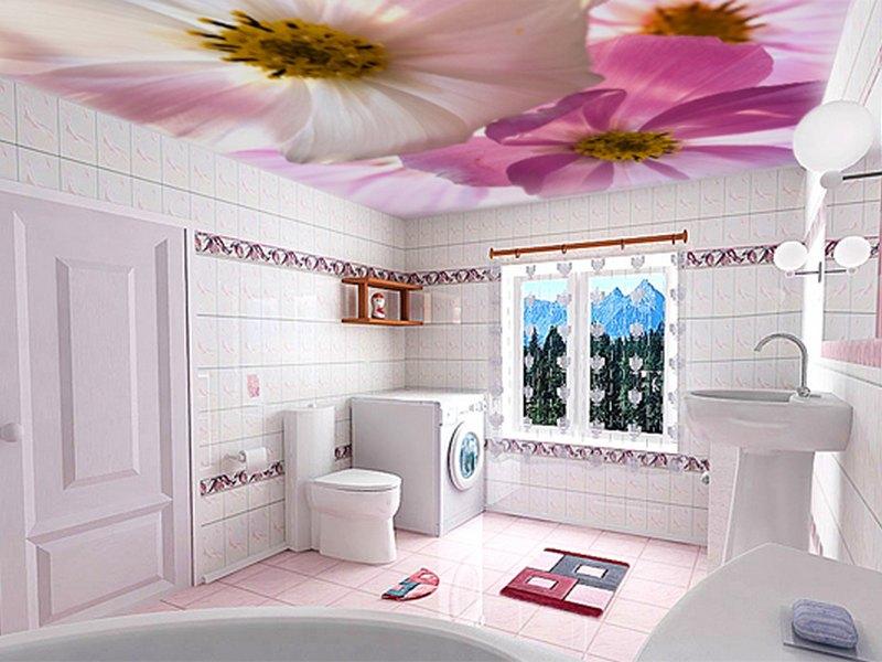 Фотопотолки с цветами для ванной