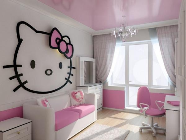 Натяжной потолок в детскую девочке