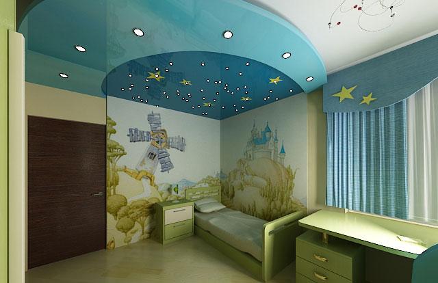 Натяжной потолок в детскую комнату мальчику