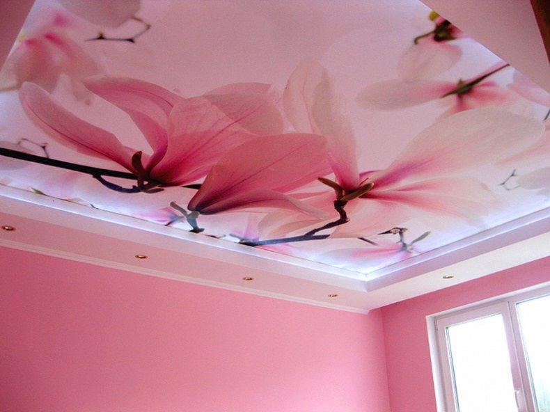 Натяжные потолки с фотопечатью цветов