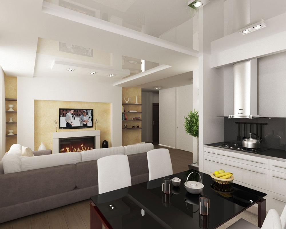 Комбинированные натяжные потолки в квартире
