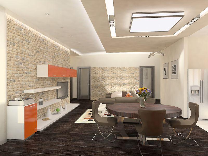 Комбинированные натяжные потолки в кухне