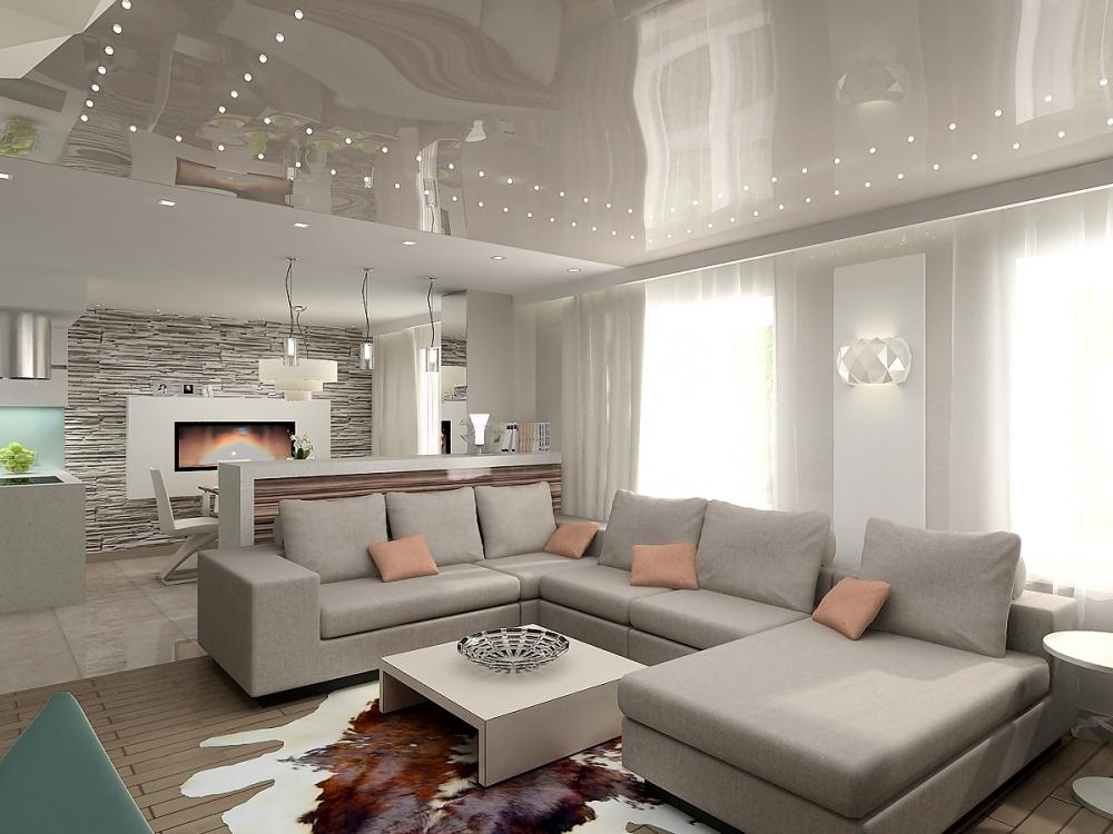 Комбинированные натяжные потолки в спальне